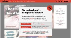 『Salon.com』で広告ブロック(adblock)を入れている状態