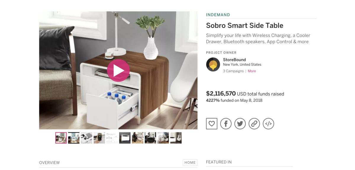 Indiegogoで出資金額を大幅達成した『Sobro Smart Side Table』