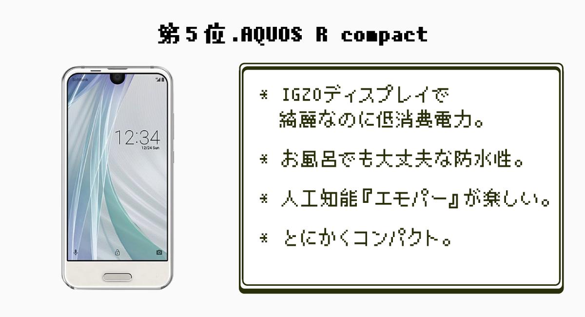 第5位.ガラスマの最終形態『AQUOS R compact』