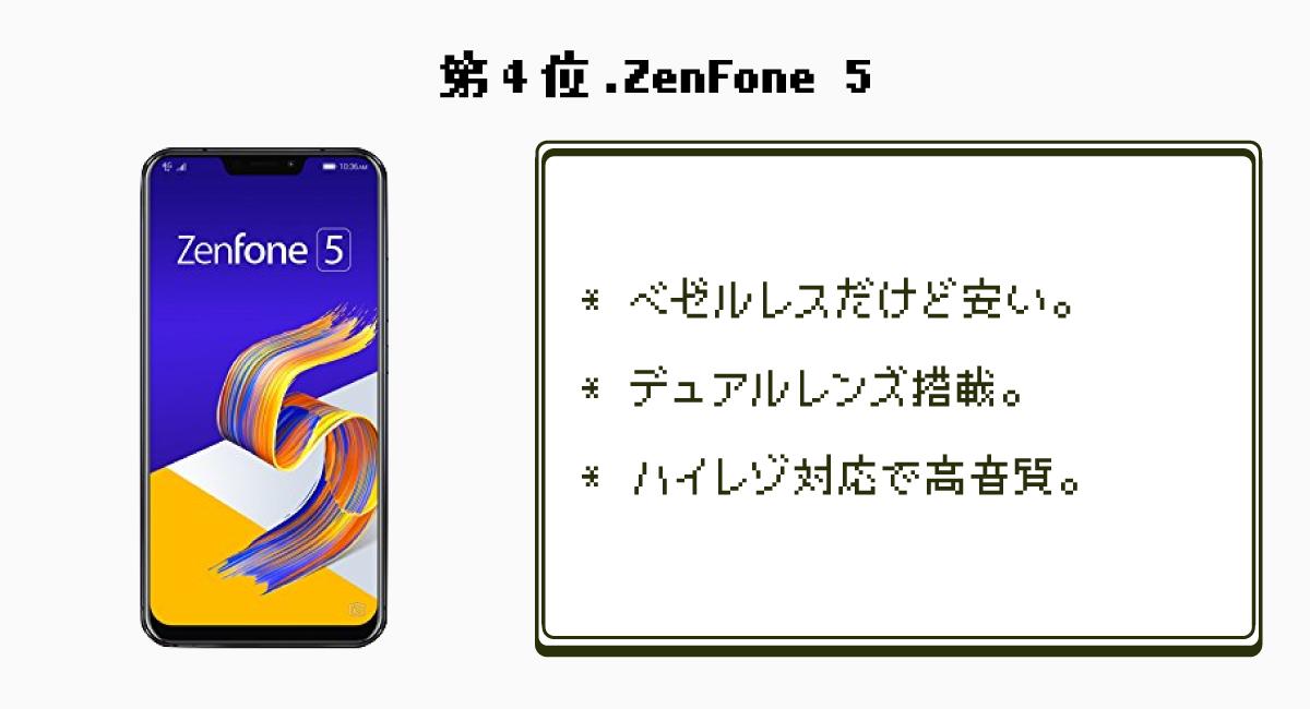 第4位.高コスパなベゼルレス『ZenFone 5』