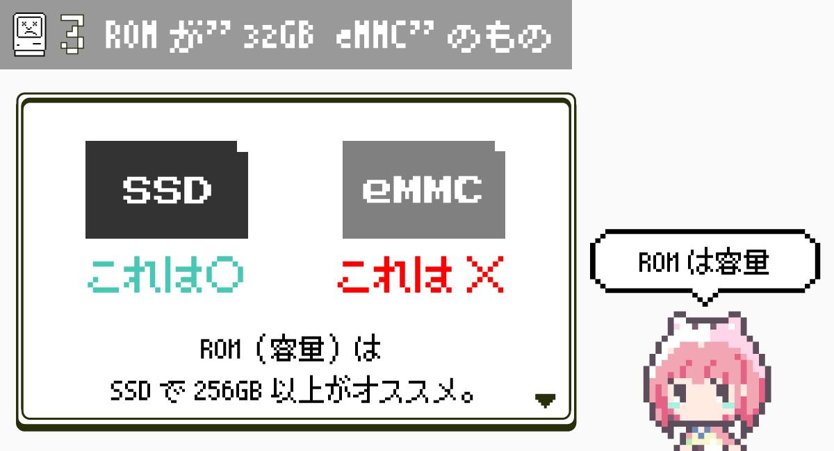 """第3条.ROMが""""32GB eMMC""""のもの"""