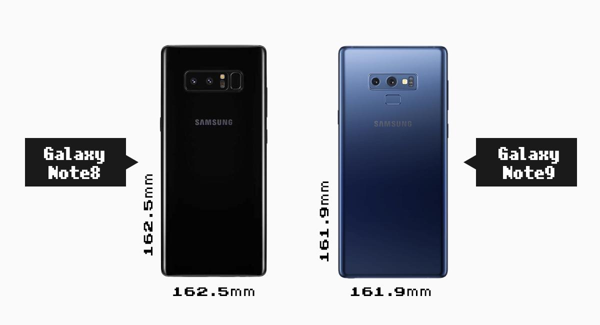 『Galaxy Note8』と『Galaxy Note9』の背面比較。