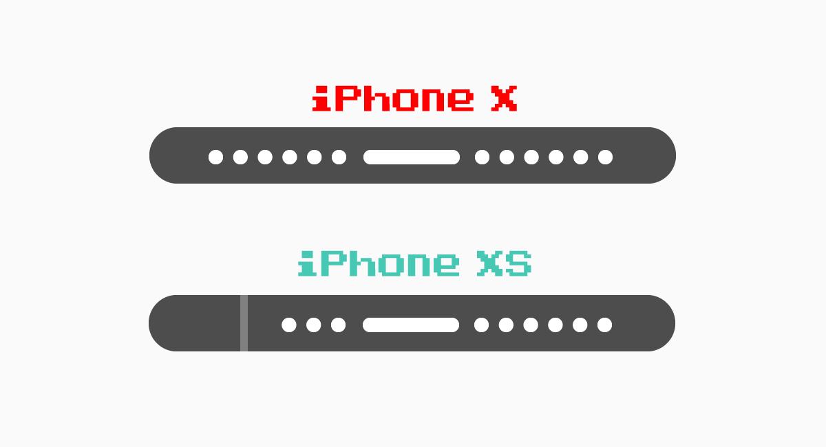 iPhone XとiPhone XSでは底面が異なる。