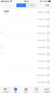 iPhone『電話』アプリの画面。