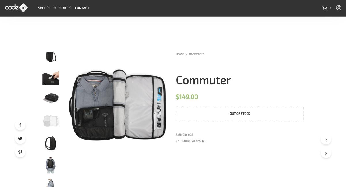 本家Code 10での『Code 10 Commuter』は、149ドル。