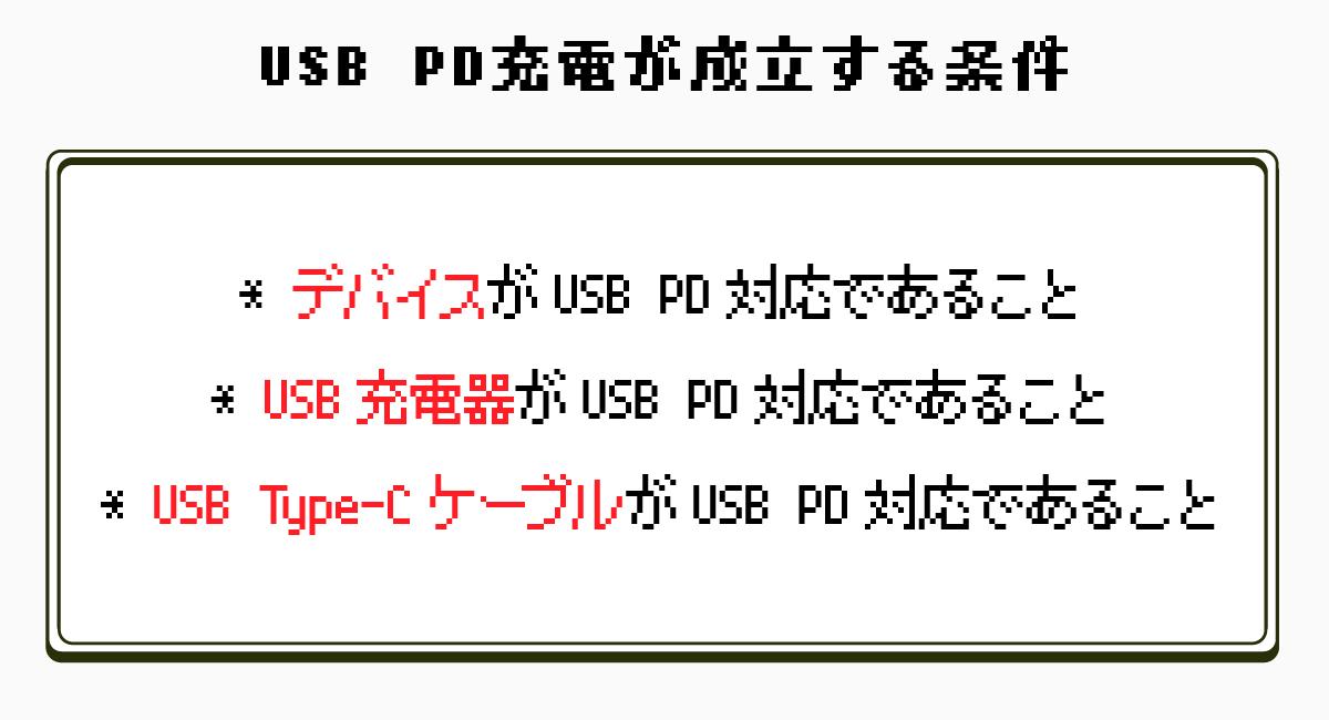 USB PD充電が成立する条件