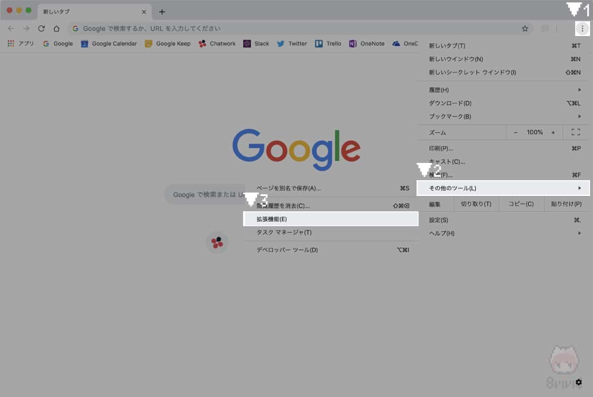 Google Chromeの『拡張機能』を開く。