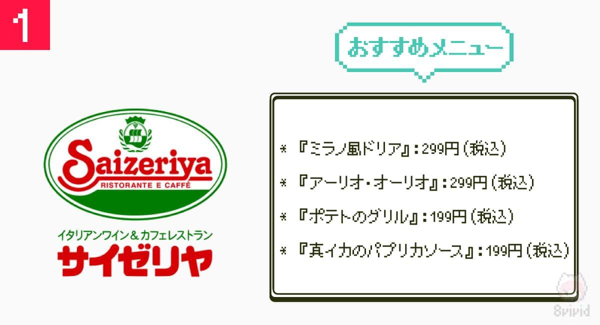 1.やっぱ最強『サイゼリヤ』