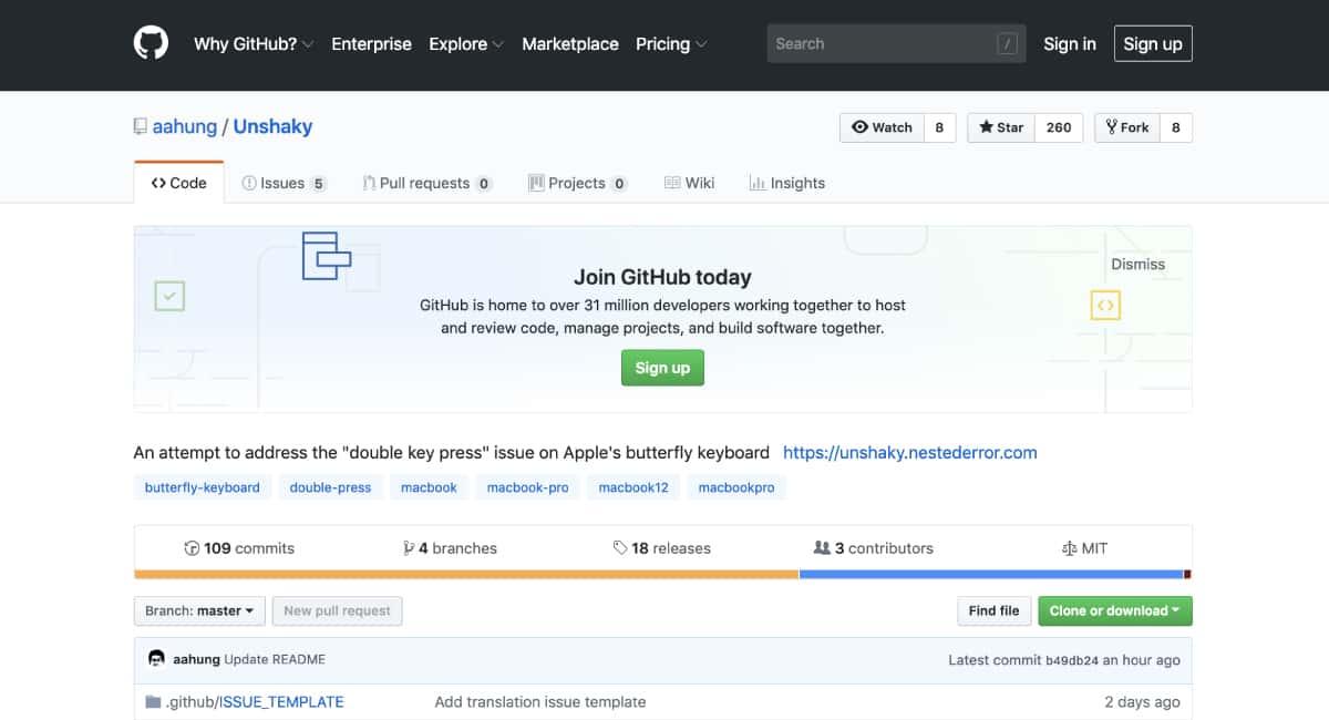 Unshakyは、GitHubでダウンロードできる。