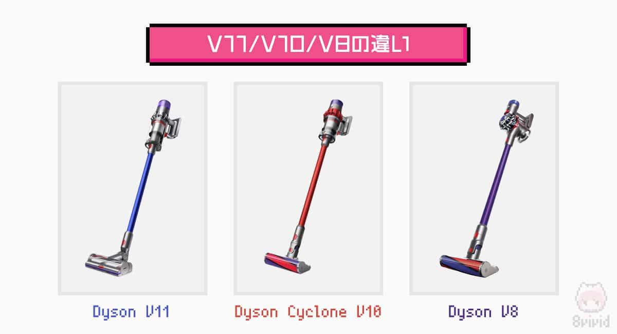 左から、Dyson V11、Dyson Cyclone V10、Dyson V8。
