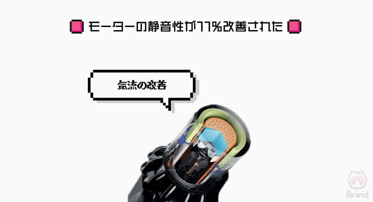 【強化ポイント3】モーターの静音性が11%改善された