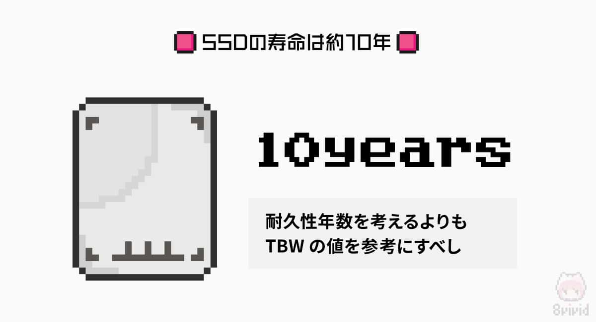 SSDの寿命は約10年