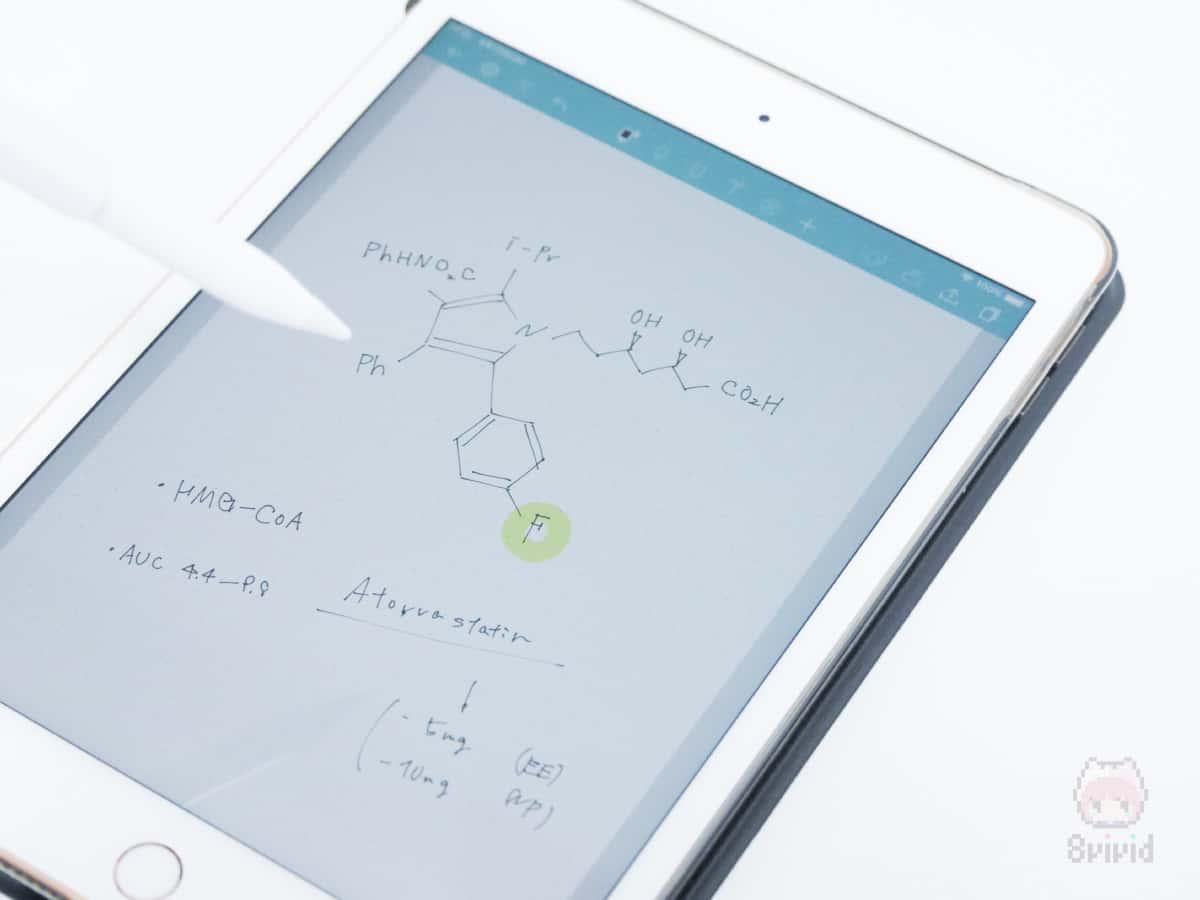 サクッと書ける小回りの良さがiPad miniの魅力。