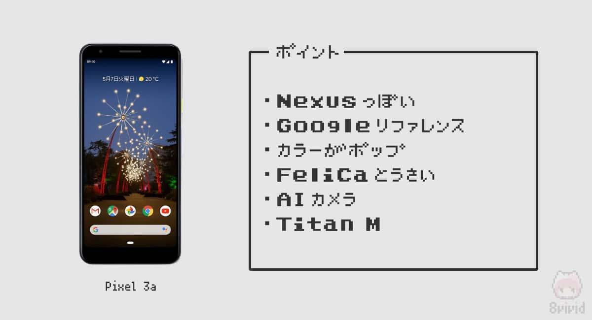 【2】Google『Pixel 3a』—Titan MとFeliCaな廉価機