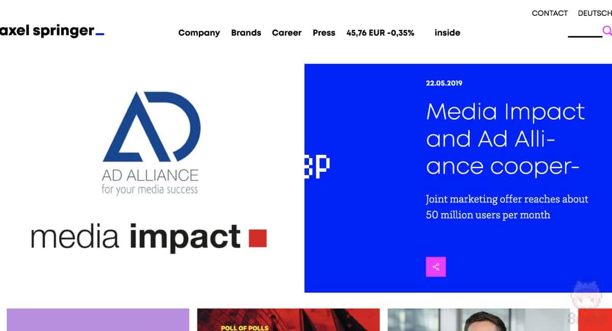 ドイツの出版社Axel Springerのサイト。
