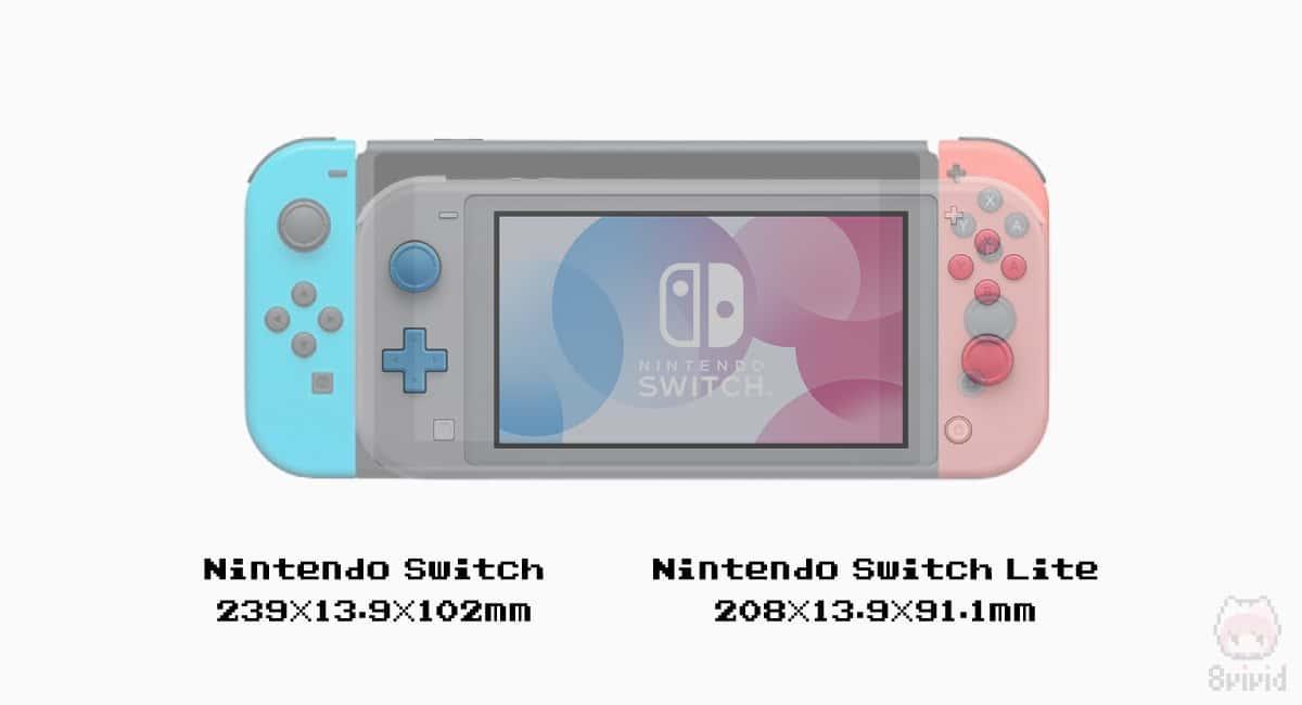 Nintendo SwitchとNintendo Switch Liteを重ね合わせた画像。