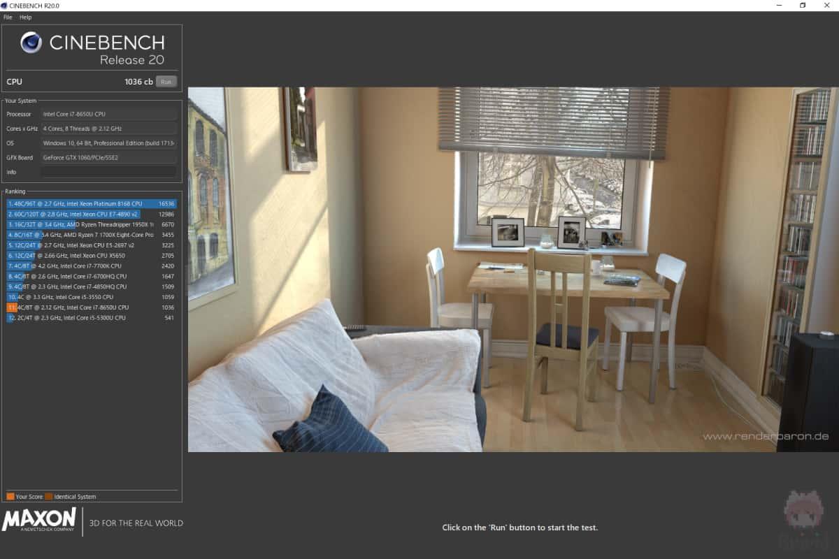 Surface Book 2 15″のCinebench R20結果。