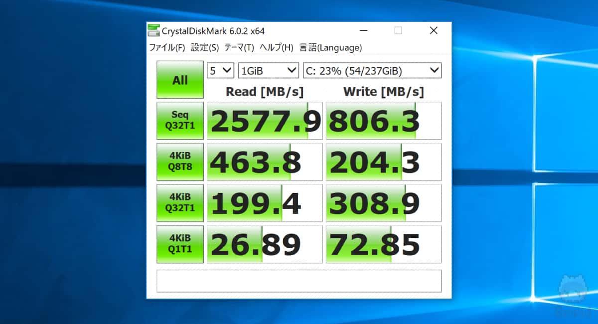 Surface Book 2 15″のCrystalDiskMark結果。