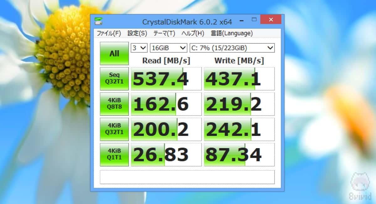 UV500のCrystalDiskMark(16GiB)の結果。