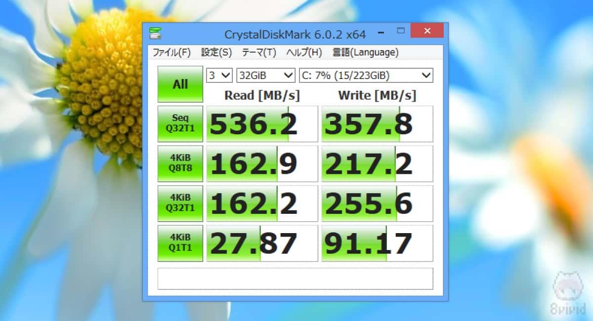 UV500のCrystalDiskMark(32GiB)の結果。
