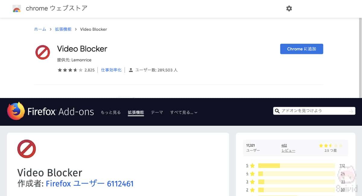 『Video Blocker』でYouTubeチャンネル/ユーザーをブロック可能。