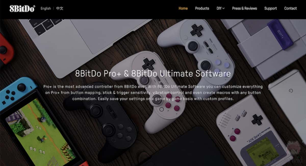 8BitDoのWebサイト。