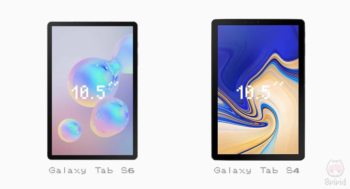 Galaxy Tab S4とS6の前面比較。
