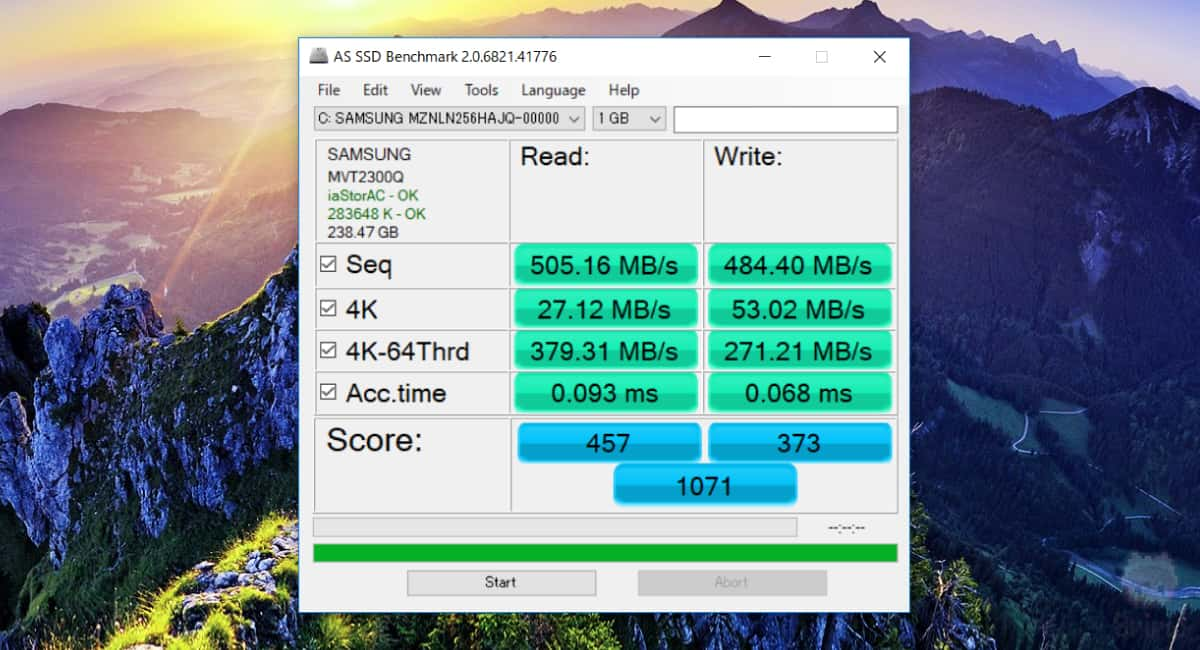 dynabook V72のAS SSD Benchmark結果。