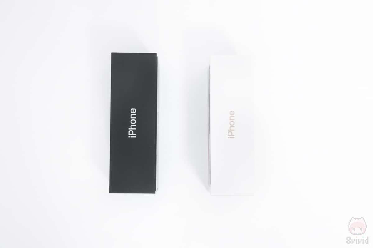 左:iPhone 11 Pro外箱側面 右:iPhone XS外箱側面