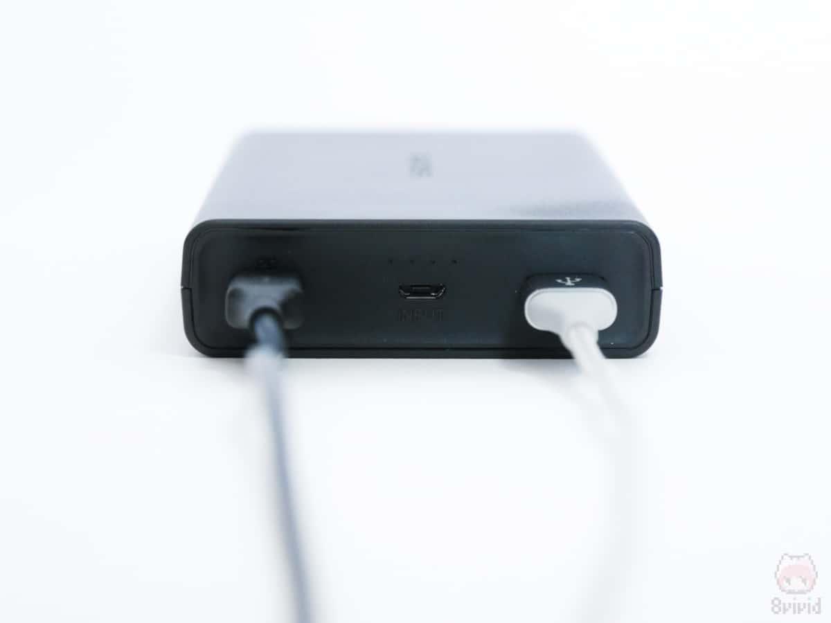 1ポートだけの出力なら、パススルー充電は可能だった。