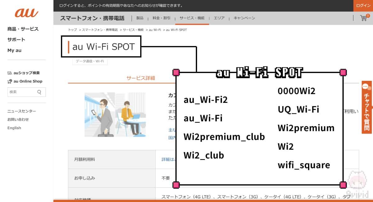 au Wi-Fi SPOT一覧。