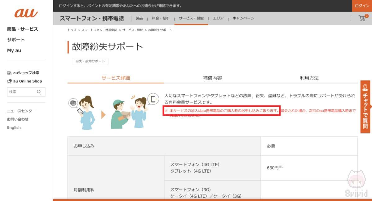 端末のみ購入では『故障紛失サポート』には加入不可。