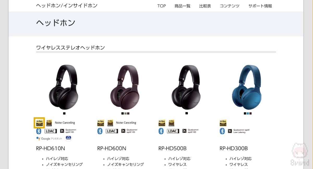 Panasonicのサイト。