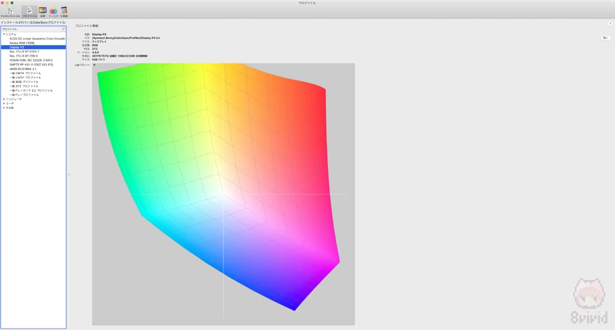 ColorSync Utilityで見た、『Display P3』の色域。