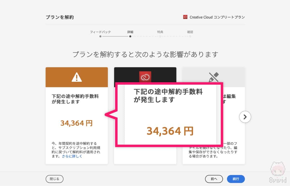 """途中解約による""""違約金""""が数万円発生。"""
