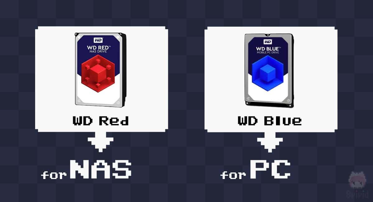 WD RedはNAS用・WD BlueはデスクトップPC用を棲み分けされている。