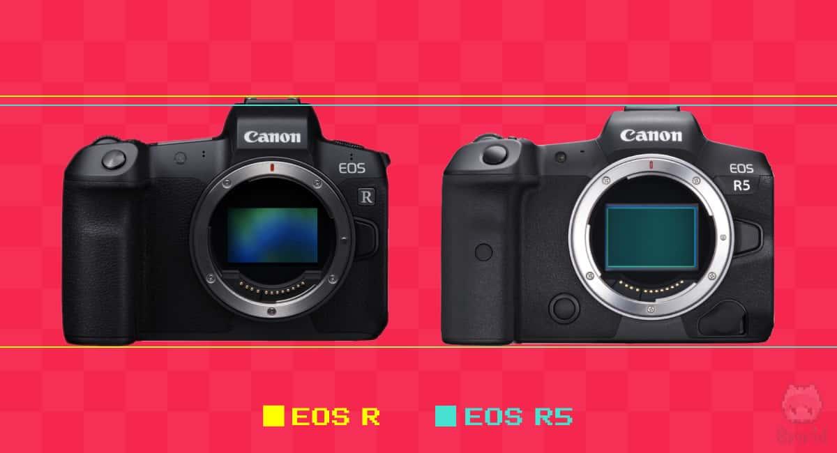 EOS RとEOS R5の高さ比較。