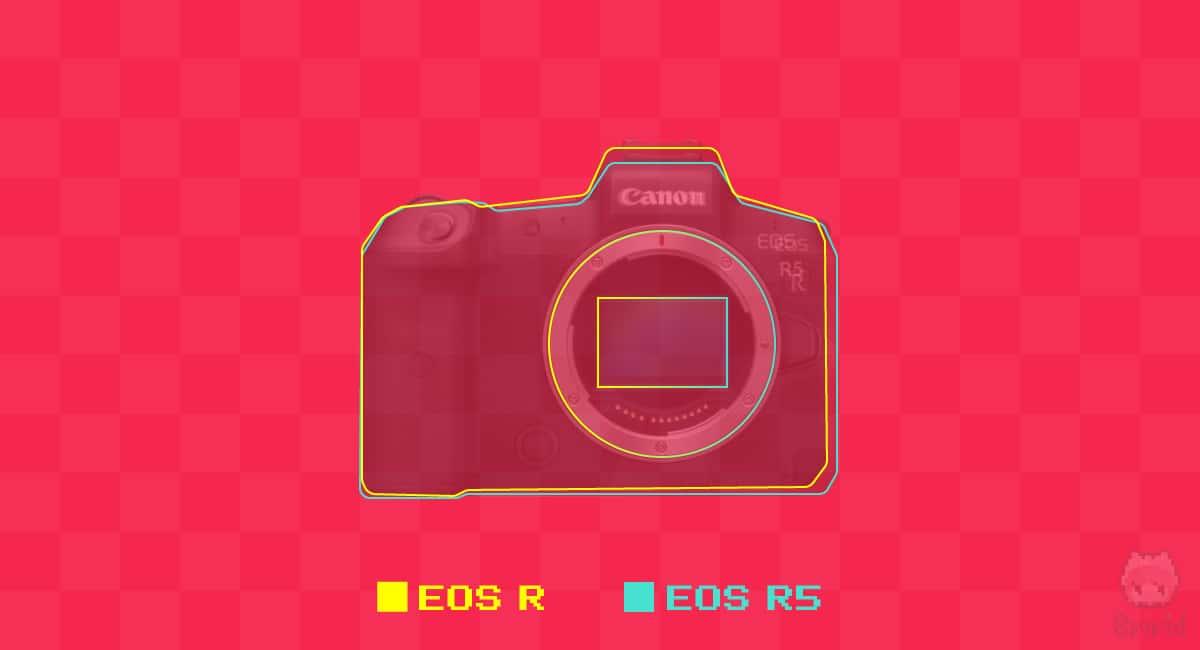 EOS RとEOS R5のアウトライン比較。