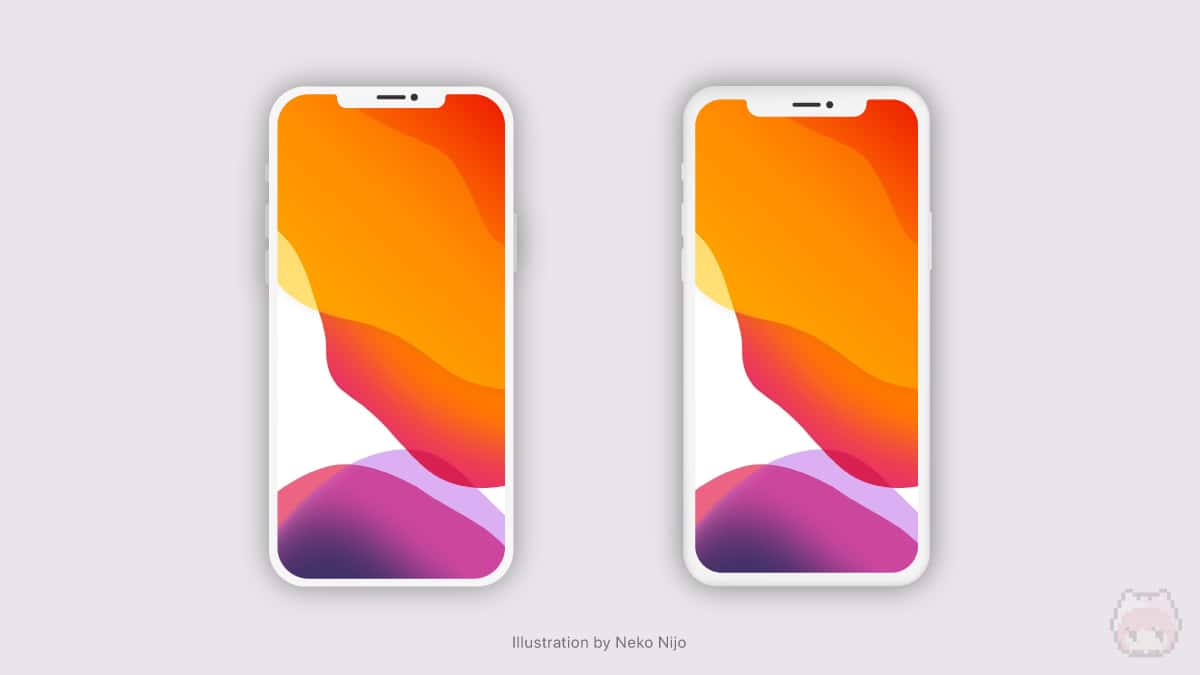 iPhone 11 Pro(右)よりも、ベゼル幅の狭いiPhone 12(左)。