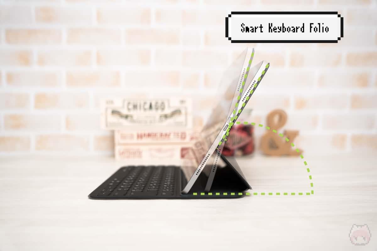 Smart Keyboard Folioの角度調整は2段階。