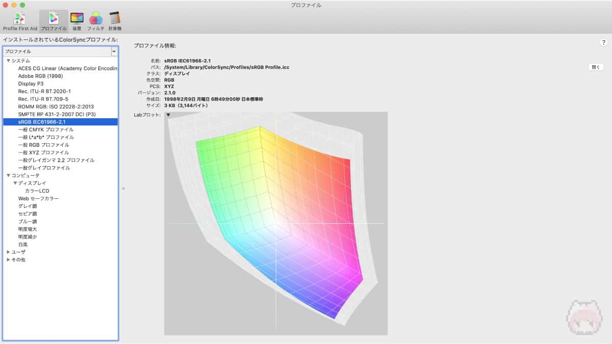 ColorSync Utilityで見た、『sRGB』の色域。