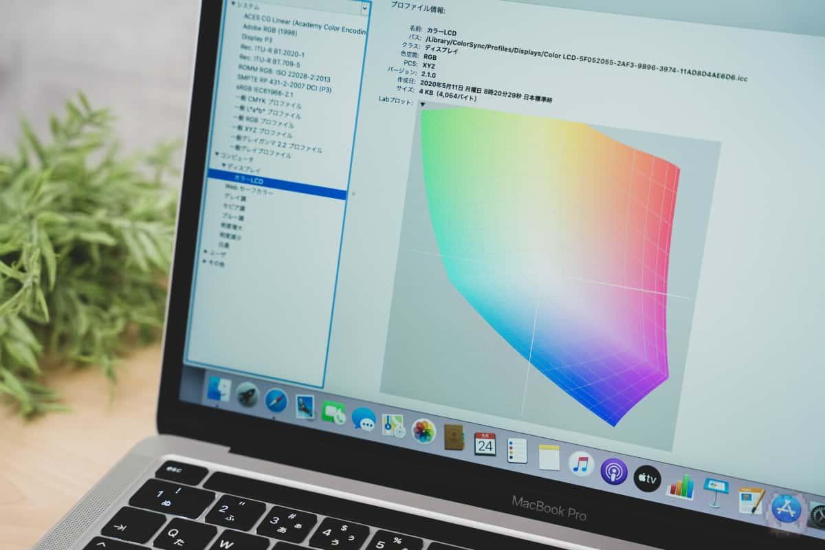 広色域ディスプレイなので、クリエイティブ用途に抜群。