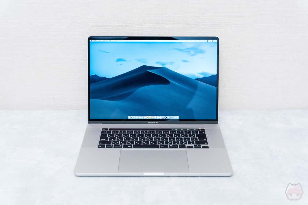 MacBook Pro 16インチ(2019)開いた状態。