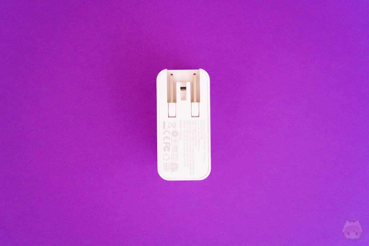 HyperJuice 100W GaN USB-C Charger後面。