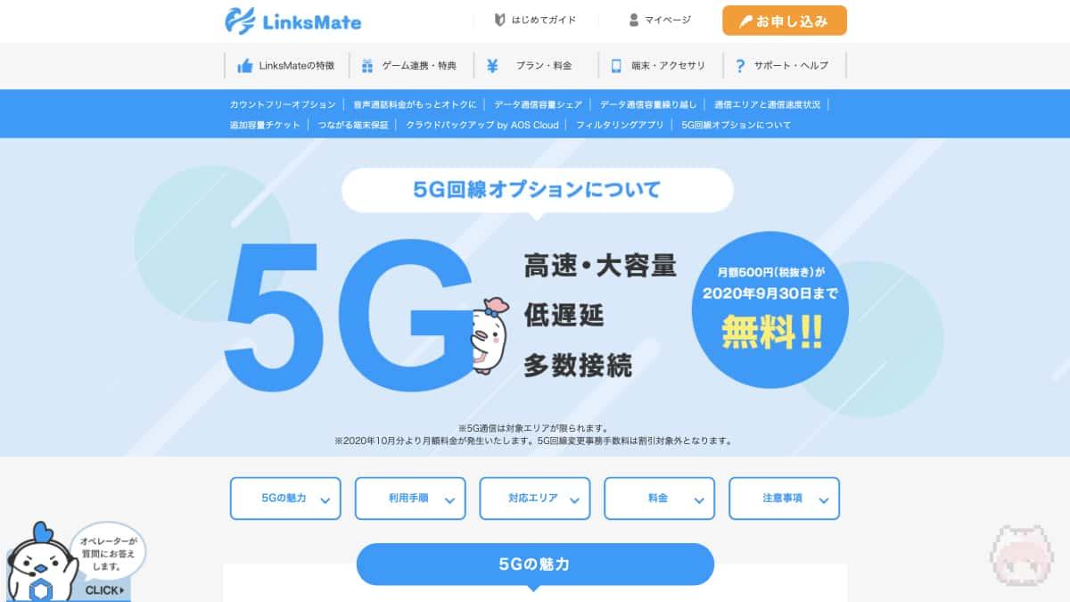 サービス名:5G回線オプション