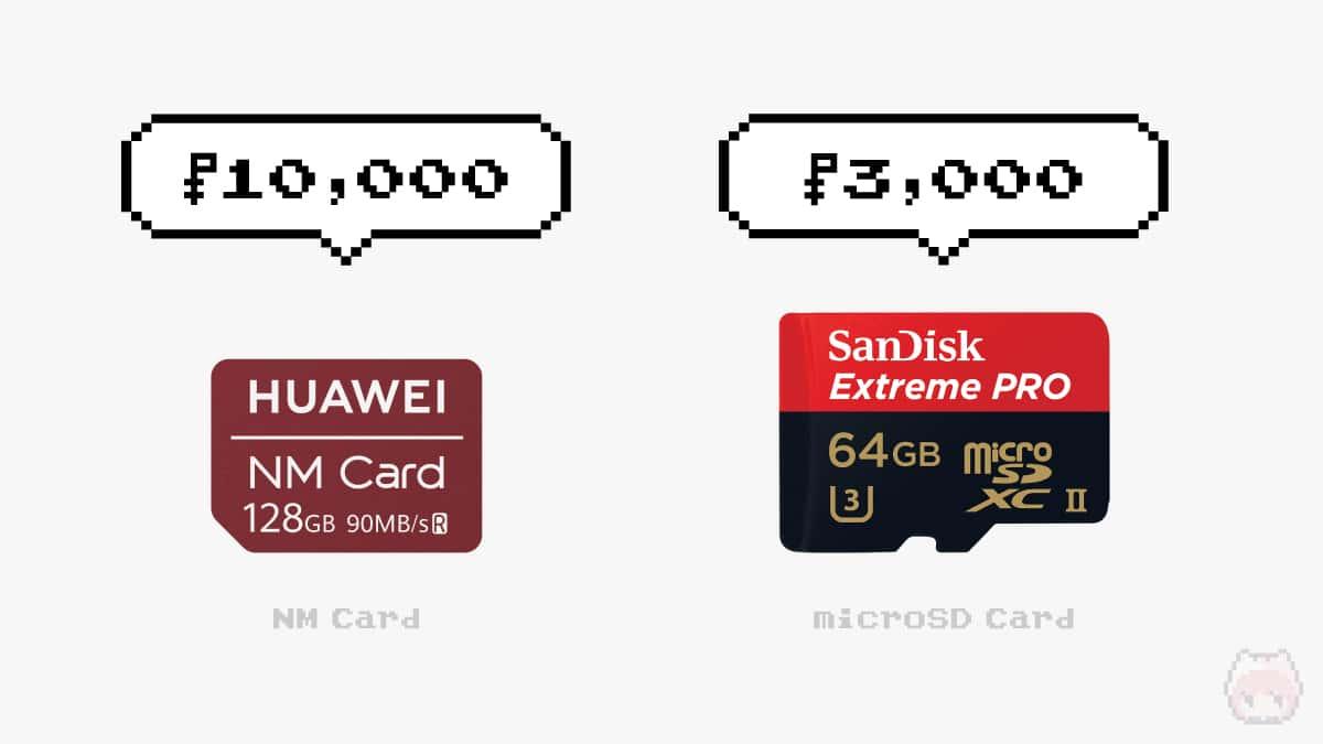 同容量で比較すると、NMカードは圧倒的高価。
