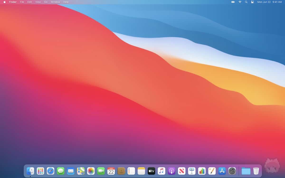 macOS Big Surのデスクトップ画面。