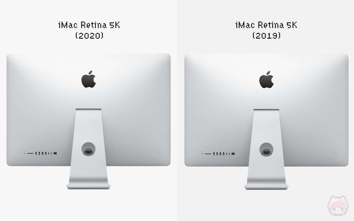 左:iMac Retina 5K(2020) 右:iMac Retina 5K(2019)