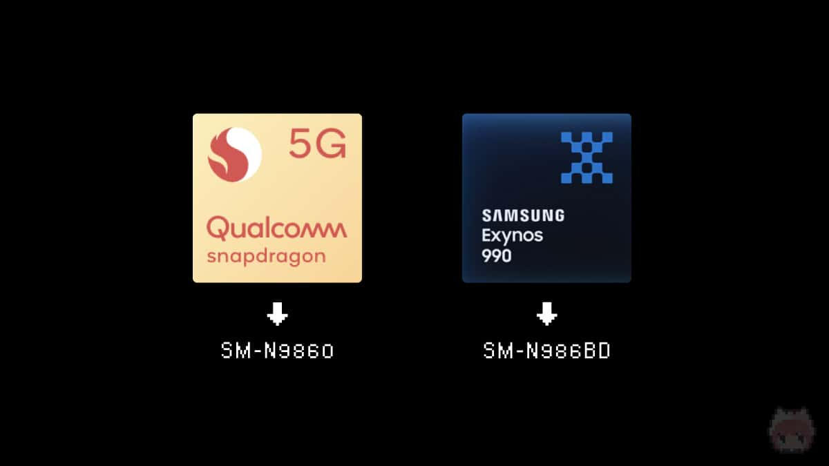 Snapdragon 865+版とExynos 990版の2種類が存在。