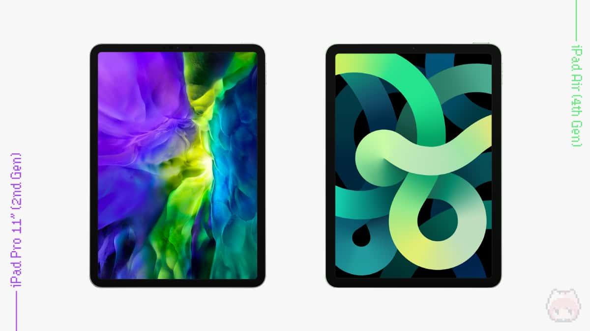 iPad Pro 11インチ(第2世代・2020)・iPad Air(第4世代・2020)のフロントビュー比較